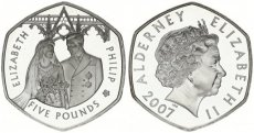 Alderney, British Dependency, 5 Pounds Silver 2007 Wedding Anniversary, KM 223, Proof