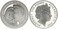 Alderney, British Dependency, 5 Pounds Silver 2010 Prince William and Catherine Middleton, KM 211a, Proof