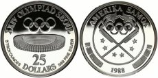 American Samoa, U.S. Territory, BIG SIZE 25 Dollars Silver 1988 Olympics - Chamshil Stadium, KM 9, Proof, RARE only 100 pieces minted !