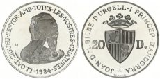 Andorra, Principality, 20 Diners Silver 1984 Wildlife - Brown Bear with Cub, KM 22, Proof