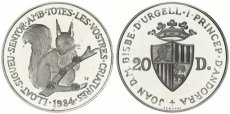 Auction 15/0067 Andorra, Principality, 20 Diners Silver 1984 Wildlife - Red Squirrel, KM 23, Proof