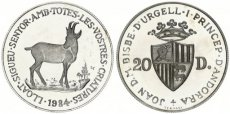 Andorra, Principality, 20 Diners Silver 1984 Wildlife - Chamois, KM 24, Proof