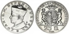 Andorra, Principality, 25 Diners Silver 1984 Joan D.M. Bisbe d'Urgell I left, KM 18, UNC
