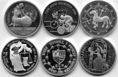 Auction 15/0070 Andorra, Principality, Small collection of 6 different modern Silver commemorative coins 1994 - 1998 including some scarcer items, all Proof