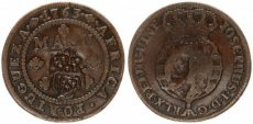 Angola, Portuguese Colony, 1 Macuta Copper ND (1837) Countermarked Arms, KM 50.2, VF