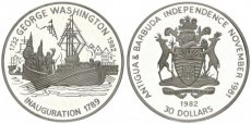 Antigua & Barbuda, British Administration, 30 Dollars Silver 1982 Inauguration of George Washington, KM 3, Proof, RARE