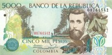Colombia, Republic, Banknote, 5000 Pesos Oro 2013 Jose Asuncion Silva at right, P 452p, UNC