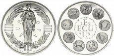 Europe, Economic Community, 1 Ecu Silver 1979 Standing Europe and coins, KM X31, Prooflike