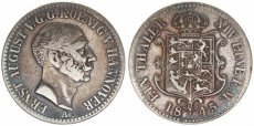 German States, Hannover, Ernst August, Thaler Silver 1845 A ! , KM 197.1, A.VF