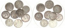 Germany, Mixed Reigns, Very Nice lot with 9 older German Silver coins in various grades