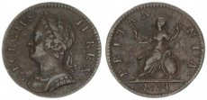Great Britain, Kingdom, George II, 1 Farthing Copper 1754 Laureate Head, KM 581.2, VF