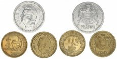 Monaco, Principality, Small Lot with 3 different Monegask Coins 1924-1945 in excellent grades