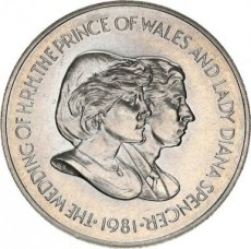 Falkland Islands, 50 Pence 1981 Copper-nickel Wedding of Prince Charles and Lady Diana, KM 16, UNC