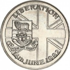 Falkland Islands, 50 Pence 1982 Copper-nickel Liberation from Argentina forces, KM 18, UNC