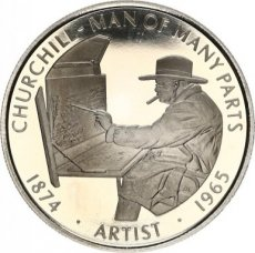 Falkland Islands, 50 Pence 2005 Copper-nickel Churchill - Man of many Parts Artist, KM NL, PROOF