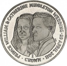 Falkland Islands, 1 crown 2011 Copper-Nickel Royal wedding - Prince William and Catherine Middleton, KM 162, B. UNC