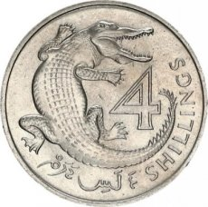 Gambia, 4 shillings 1966 Copper- Nickel Slender-snouted crocodile, KM 6, UNC