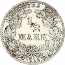 Germany, 1/2 mark1915 A Circulation Type,  KM 17, A. UNC