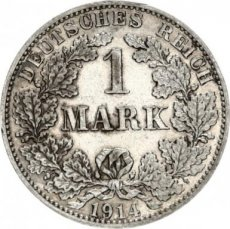 Germany, 1 mark 1914 A Silver Circulation Type,  KM 14, XF