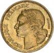 France, 10 Francs Brass 1954, KM 915.1, VF+