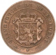 Luxembourg, 2-1/2 Centimes Copper 1854, KM 21, XF
