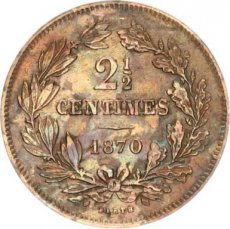 Luxembourg, 2-1/2 Centimes Copper 1870, KM 21, VF