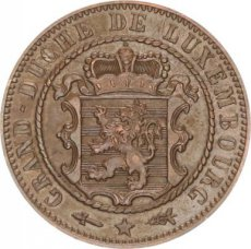 Luxembourg, 10 Centimes Copper 1854, KM 23.1, XF !
