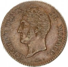 Monaco, 5 Centimes Copper 1837 MC, KM 95, XF