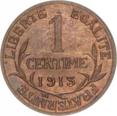 France, 1 Centime Bronze 1913, KM 840, SUP