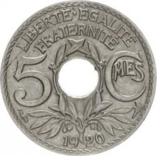France, 5 Centimes Copper-Nickel 1920, KM 875, SUP