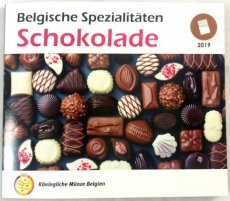 Belgium, Kingdom, Official BU Euro Coin Set 2019 SCHOKOLADE, Special World Money Fair Berlin set (500 ex only !), B.UNC