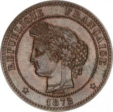 France, 10 Centimes Bronze 1872A, KM 815.1, A.UNC !