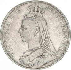 Great Britain, 1 Crown Silver Victoria, KM 765, Fine
