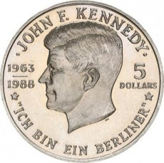 Niue, 5 Dollars Copper-Nickel 1988 Kennedy, KM 17, UNC